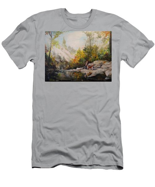 Men's T-Shirt (Slim Fit) featuring the painting Autumn Walk by Alan Lakin