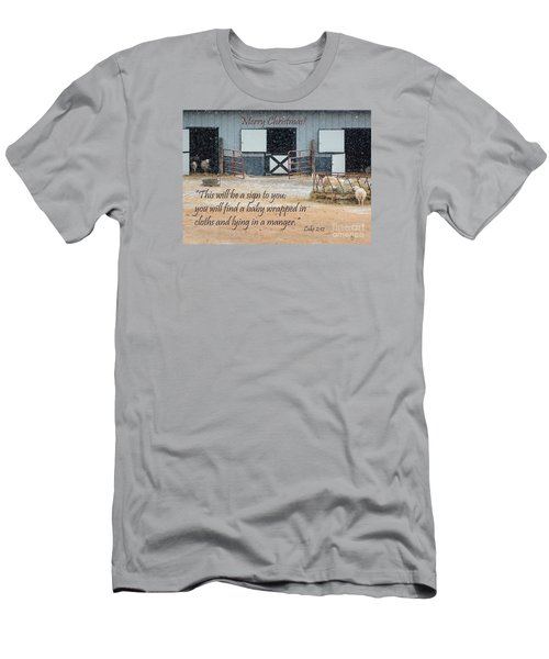 In A Manger Men's T-Shirt (Slim Fit) by Nava Thompson