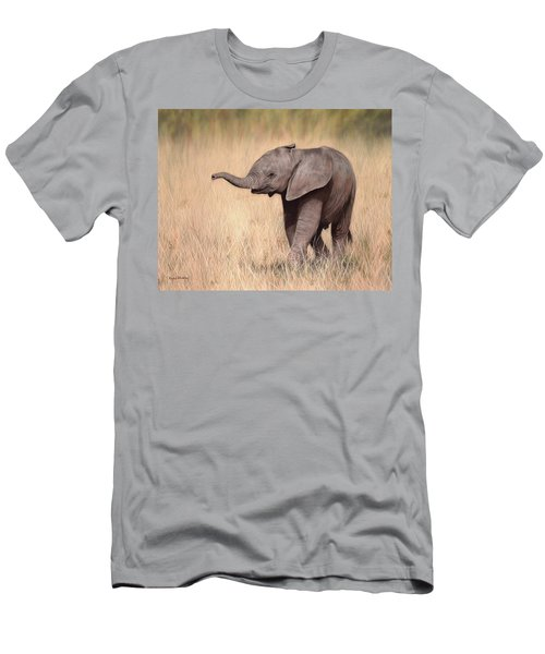 Elephant Calf Painting Men's T-Shirt (Athletic Fit)