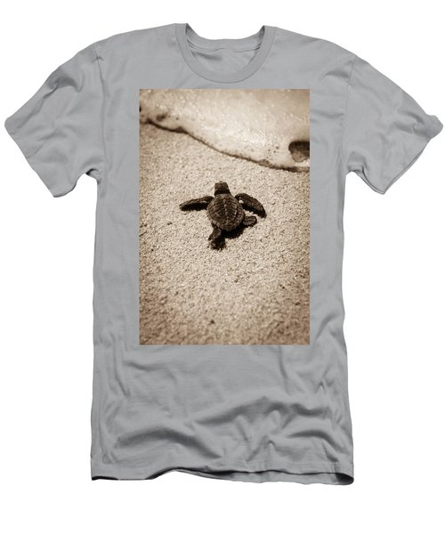 Men's T-Shirt (Athletic Fit) featuring the photograph Baby Sea Turtle by Sebastian Musial