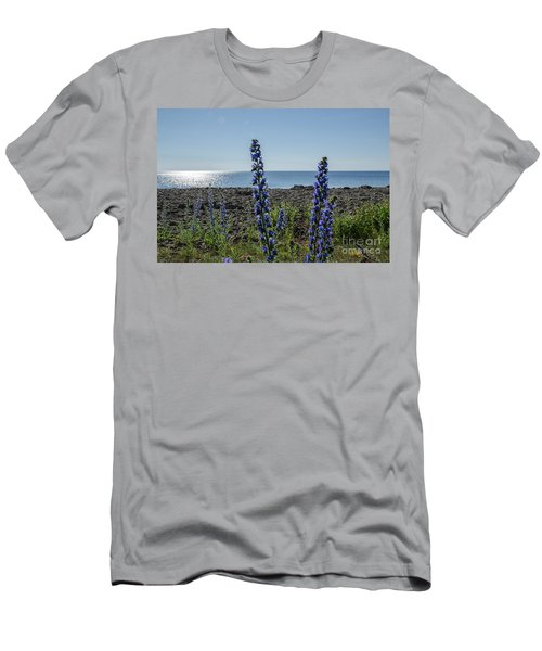 Backlit Blue Flowers  Men's T-Shirt (Athletic Fit)