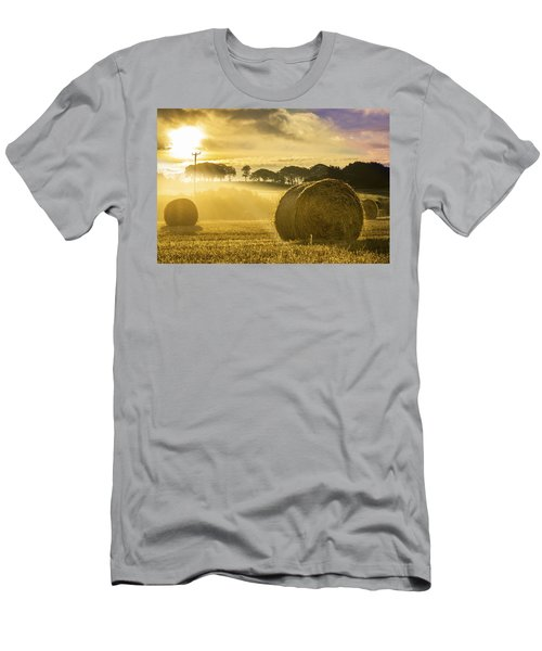 Bales In The Morning Mist Men's T-Shirt (Athletic Fit)