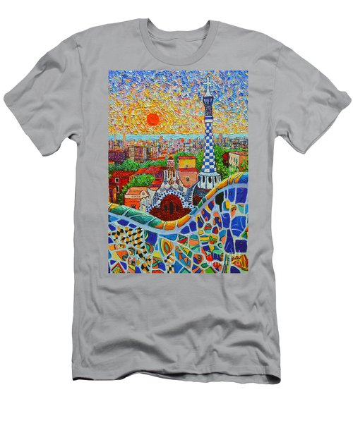 Barcelona Sunrise - Guell Park - Gaudi Tower Men's T-Shirt (Slim Fit) by Ana Maria Edulescu