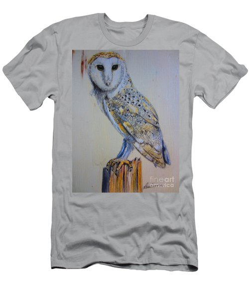 Men's T-Shirt (Slim Fit) featuring the painting Barn Owl by Laurianna Taylor