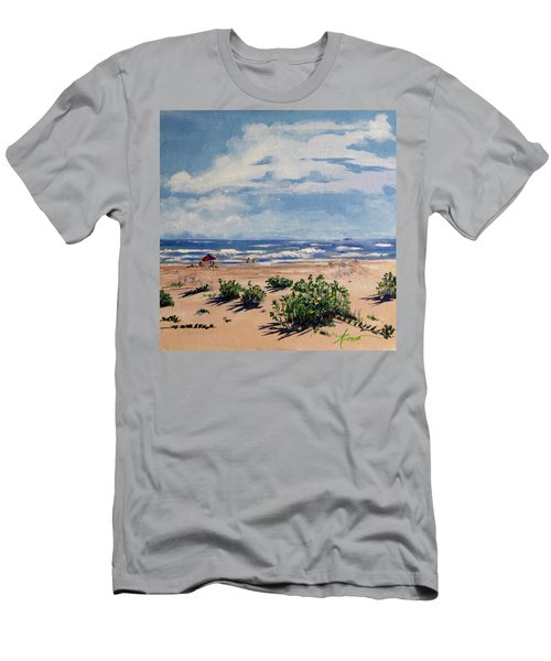 Beach Scene On Galveston Island Men's T-Shirt (Athletic Fit)