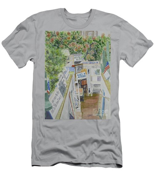 Men's T-Shirt (Slim Fit) featuring the painting Beach Signs by Carol Flagg