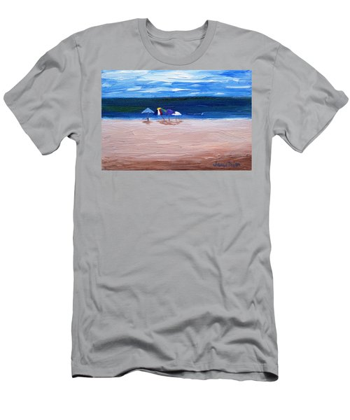 Men's T-Shirt (Slim Fit) featuring the painting Beach Umbrellas by Jamie Frier
