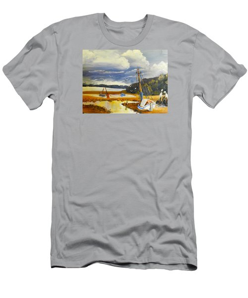 Men's T-Shirt (Slim Fit) featuring the painting Beached Boat And Fishing Boat At Gippsland Lake by Pamela  Meredith