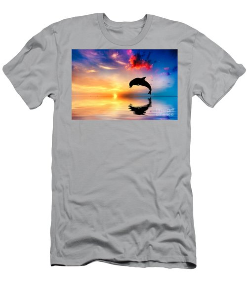 Beautiful Ocean And Sunset With Dolphin Jumping Men's T-Shirt (Athletic Fit)