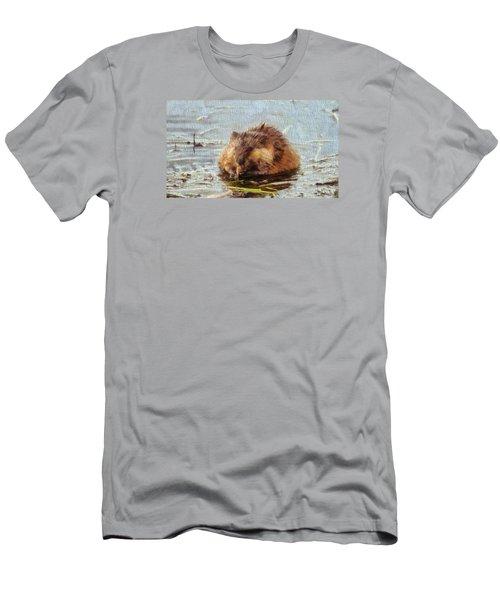 Beaver Portrait On Canvas Men's T-Shirt (Athletic Fit)