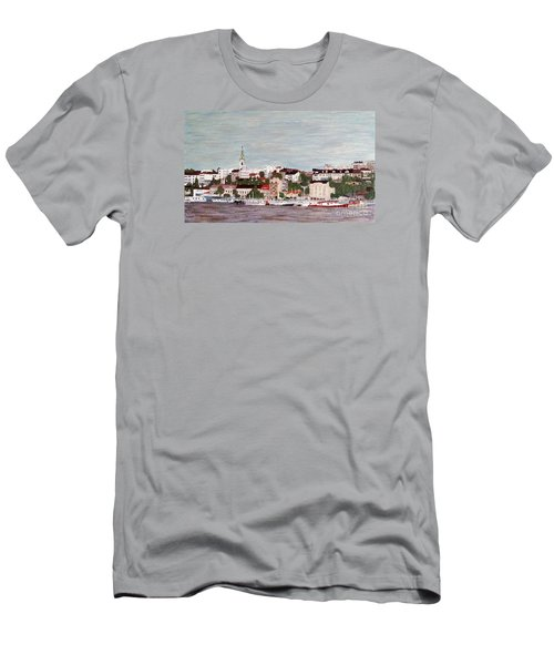 Men's T-Shirt (Slim Fit) featuring the painting Belgrade Serbia by Jasna Gopic