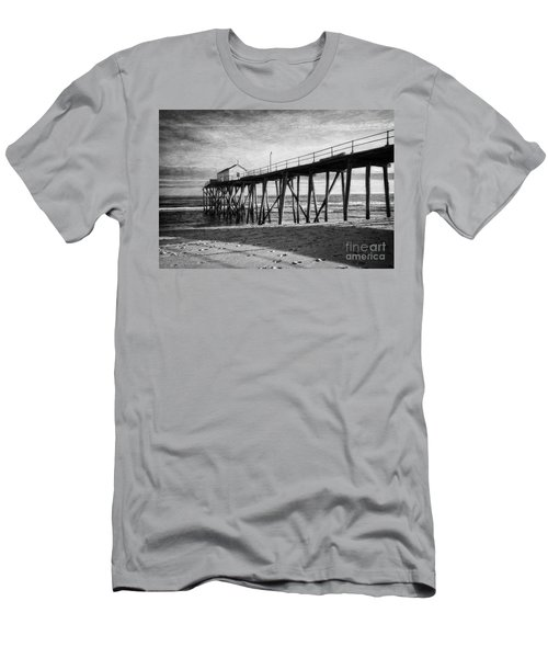 Men's T-Shirt (Slim Fit) featuring the photograph Belmar Fishing Pier In Black And White by Debra Fedchin
