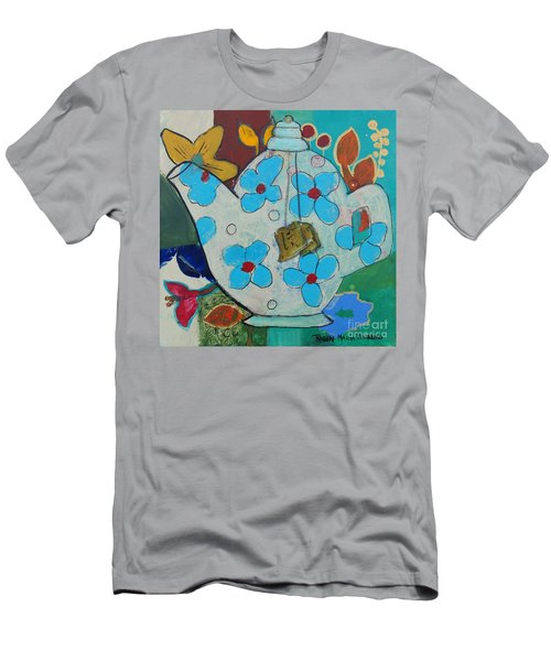 Big Floral Tea Pot Men's T-Shirt (Athletic Fit)
