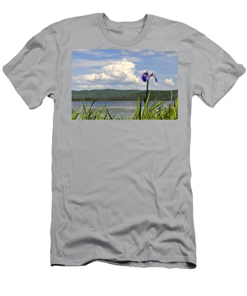 Men's T-Shirt (Slim Fit) featuring the photograph Birch Lake Iris by Cathy Mahnke