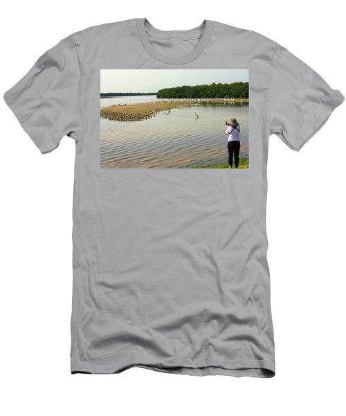 Men's T-Shirt (Slim Fit) featuring the photograph Bird Experience by Rosalie Scanlon