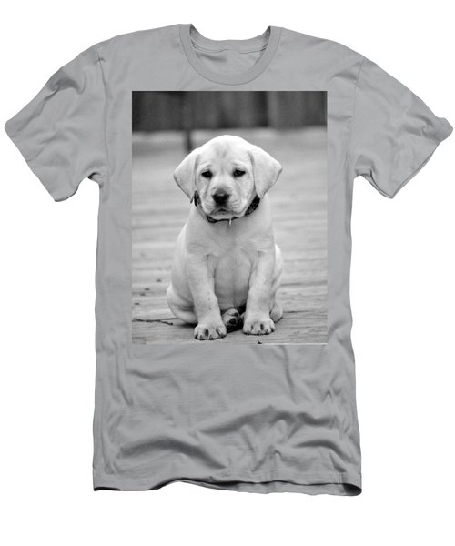 Black And White Puppy Men's T-Shirt (Athletic Fit)
