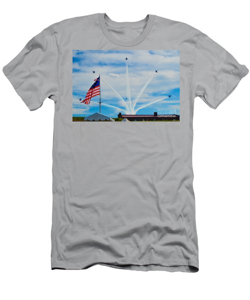 Blue Angels Bomb Burst In Air Over Fort Mchenry Finale Men's T-Shirt (Athletic Fit)
