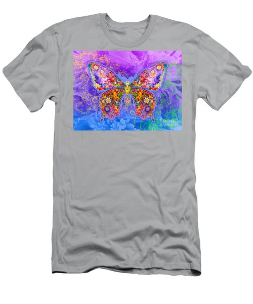 Blue Butterfly Floral Men's T-Shirt (Athletic Fit)