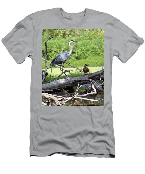 Blue Heron And Friend Men's T-Shirt (Slim Fit) by Debbie Hart