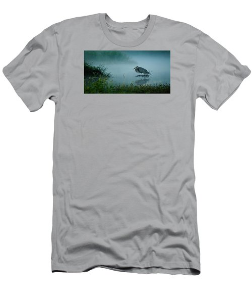 Men's T-Shirt (Slim Fit) featuring the photograph Blue Heron Morning by Deborah Smith