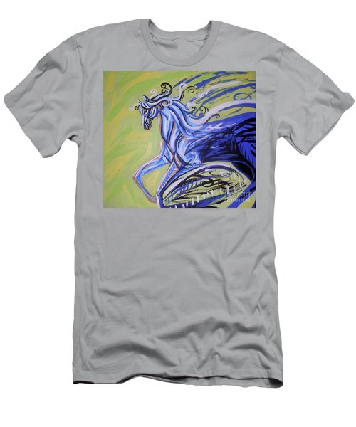 Blue Horse Men's T-Shirt (Slim Fit) by Genevieve Esson