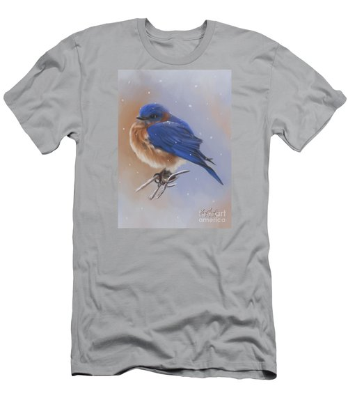 Bluebird In The Snow Men's T-Shirt (Slim Fit) by Lena Auxier