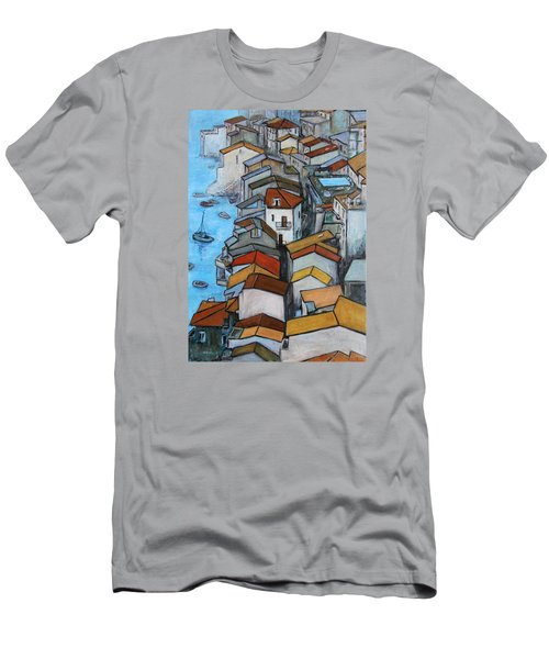 Boats In Front Of The Buildings Iv Men's T-Shirt (Slim Fit) by Xueling Zou