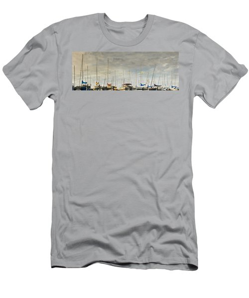 Men's T-Shirt (Slim Fit) featuring the photograph Boats In Harbor Reflection by Peter v Quenter