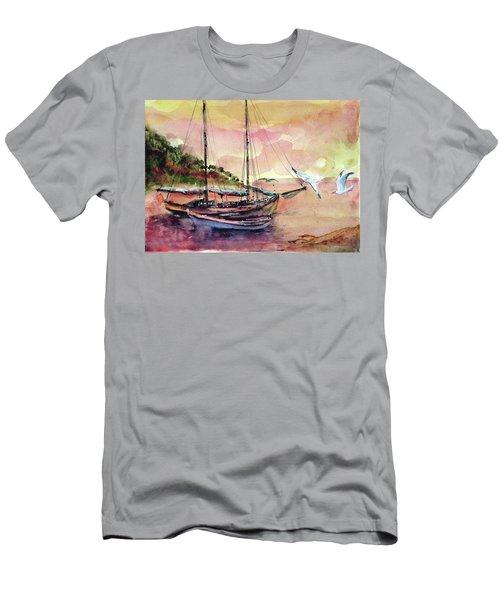 Boats In Sunset  Men's T-Shirt (Slim Fit) by Faruk Koksal