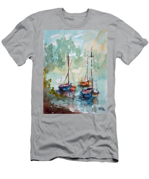 Boats On Lake  Men's T-Shirt (Slim Fit) by Faruk Koksal