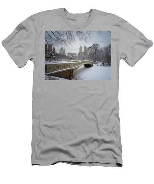 Bow Bridge Central Park In Winter  Men's T-Shirt (Slim Fit) by Vivienne Gucwa
