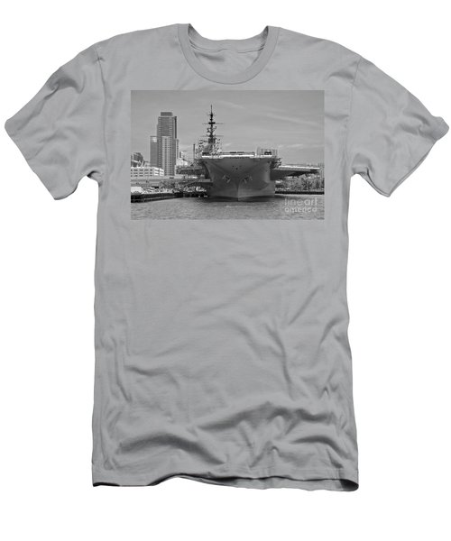 Bow Of The Uss Midway Museum Cv 41 Aircraft Carrier - Black And White Men's T-Shirt (Slim Fit) by Claudia Ellis