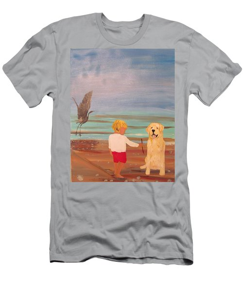Boy And Dog Men's T-Shirt (Athletic Fit)