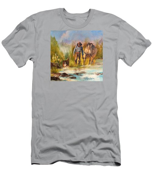Men's T-Shirt (Slim Fit) featuring the painting Break For The Ride by Karen Kennedy Chatham