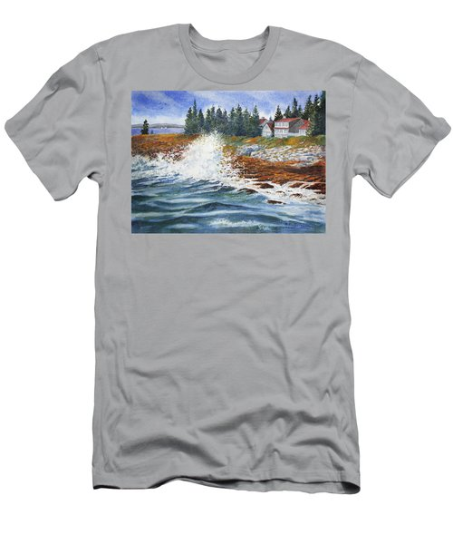 Men's T-Shirt (Slim Fit) featuring the painting Breakers At Pemaquid by Roger Rockefeller