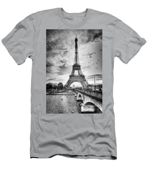 Men's T-Shirt (Athletic Fit) featuring the photograph Bridge To The Eiffel Tower by John Wadleigh