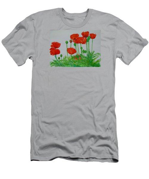 Red Poppies Colorful Flowers Original Art Painting Floral Garden Decor Artist K Joann Russell Men's T-Shirt (Slim Fit) by Elizabeth Sawyer
