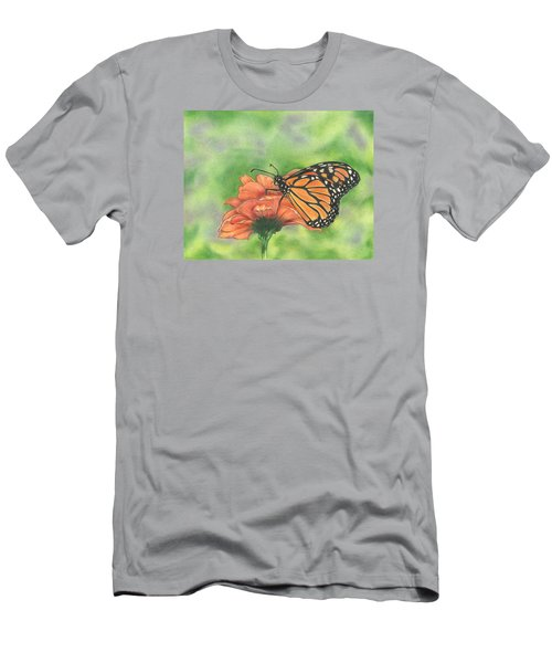 Men's T-Shirt (Slim Fit) featuring the drawing Butterfly by Troy Levesque