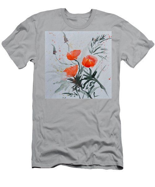 California Poppies Sumi-e Men's T-Shirt (Athletic Fit)
