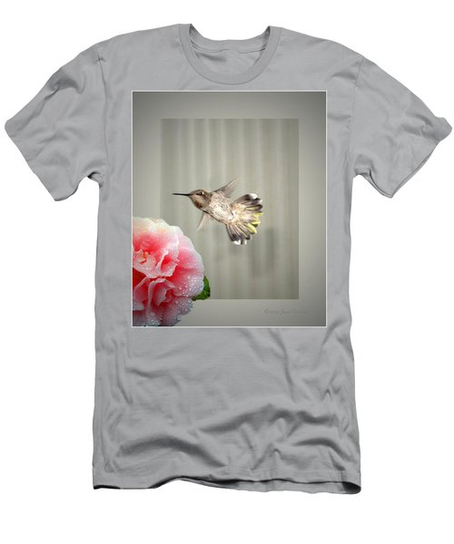 Men's T-Shirt (Slim Fit) featuring the photograph Camellia And Hummer by Joyce Dickens