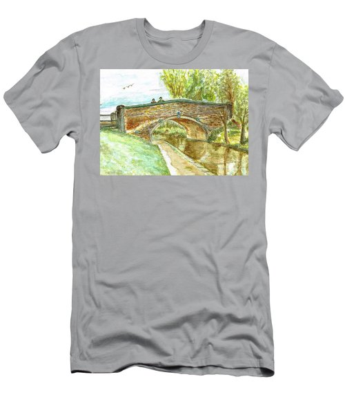 Men's T-Shirt (Slim Fit) featuring the painting Canal-bridal Path In Staffordshire  by Teresa White