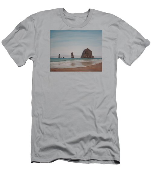 Men's T-Shirt (Slim Fit) featuring the painting Cannon Beach Haystack Rock by Ian Donley