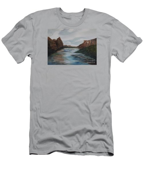 Men's T-Shirt (Slim Fit) featuring the painting Canyon De Chelly by Ellen Levinson