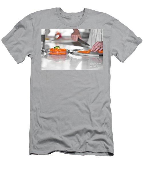 Men's T-Shirt (Slim Fit) featuring the photograph Carrot Cutting In Kitchen by Gunter Nezhoda