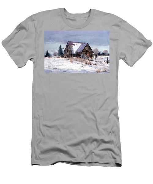 Men's T-Shirt (Slim Fit) featuring the painting Cache Valley Barn by Donald Maier