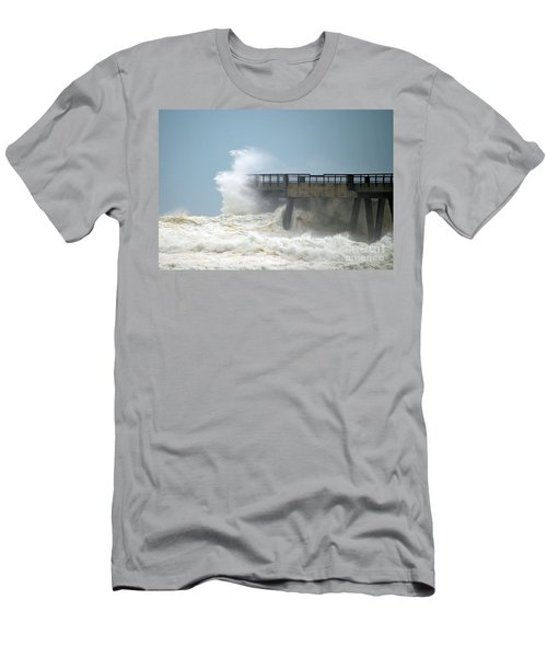 0828 Cat 1 Hurricane Isaac Crashes Into Navarre Beach Pier Men's T-Shirt (Slim Fit) by Jeff at JSJ Photography