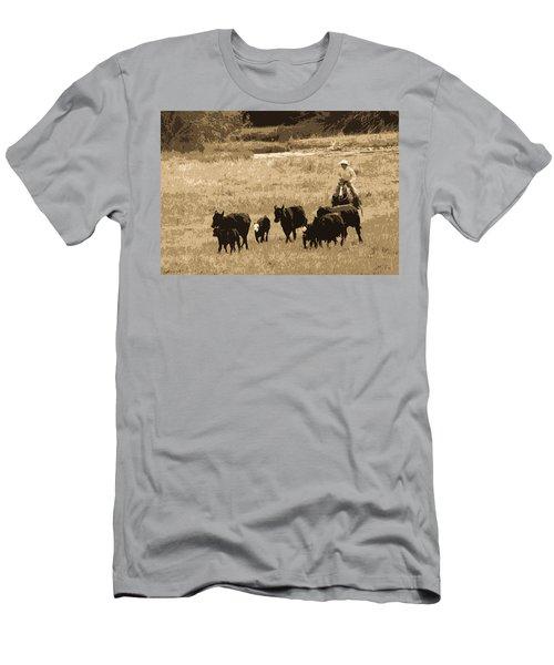 Cattle Round Up Sepia Men's T-Shirt (Slim Fit) by Athena Mckinzie
