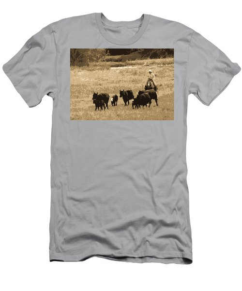 Cattle Round Up Sepia Men's T-Shirt (Athletic Fit)