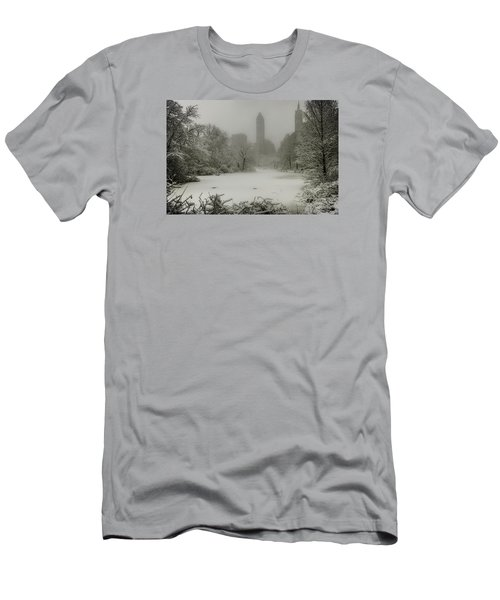 Men's T-Shirt (Slim Fit) featuring the photograph Central Park Snowstorm by Chris Lord