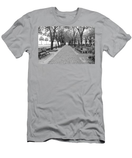 Charleston Waterfront Park Walkway - Black And White Men's T-Shirt (Athletic Fit)